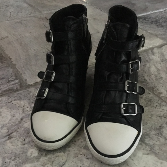 4e29a272ac7 Ash Shoes - Ash Genial black leather wedge sneaker